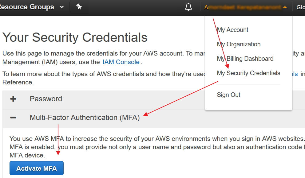 aws setup 2 Factor authen