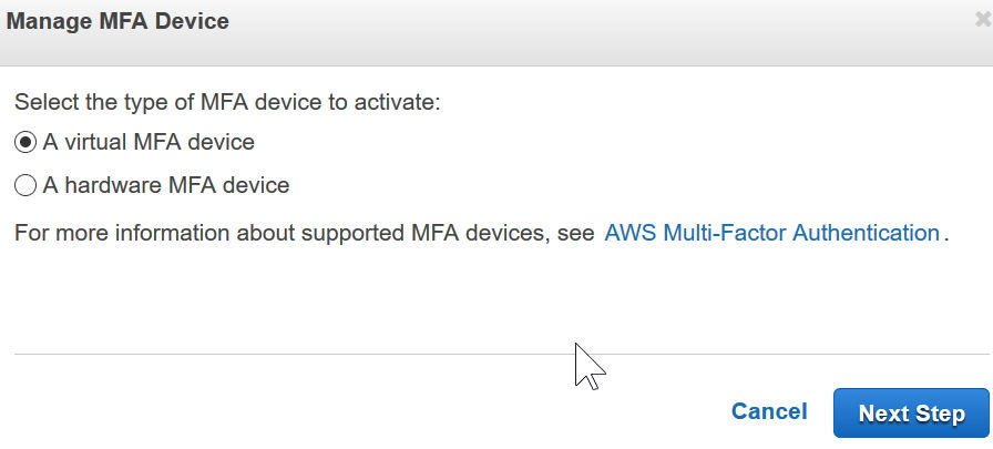 aws enable 2 factor select virtual device