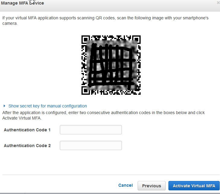aws enable 2 factor by qrcode